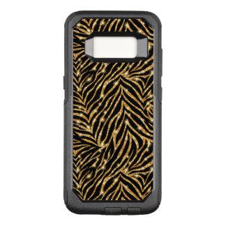 Glitzy Gold Zebra Stripes Pattern OtterBox Commuter Samsung Galaxy S8 Case