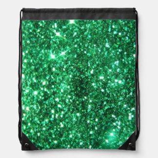 Glitzy Green Glitter Drawstring Bag