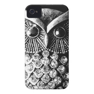Glitzy Jewelled Metal Owl iPhone 4 Case-Mate Cases