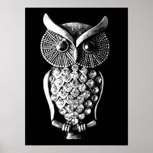 Glitzy Jewelled Metal Owl Print