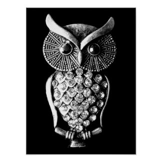 Glitzy Jewelled Metal Owl Print