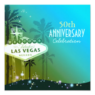 Glitzy Las Vegas 50th Wedding Anniversary 13 Cm X 13 Cm Square Invitation Card