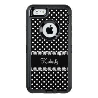 Glitzy Monogram Polka Dot OtterBox Defender iPhone Case