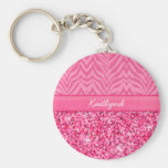 Glitzy Pink Zebra Basic Round Button Key Ring
