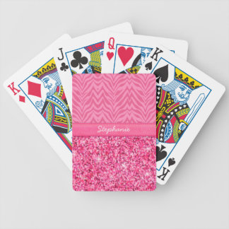 Glitzy Pink Zebra Bicycle Playing Cards