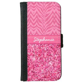Glitzy Pink Zebra iPhone 6 Wallet Case