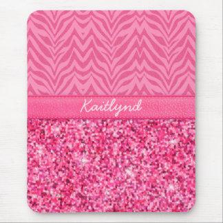 Glitzy Pink Zebra Mouse Mat