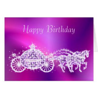 Glitzy Princess Purple Coach & Horses Birthday Card
