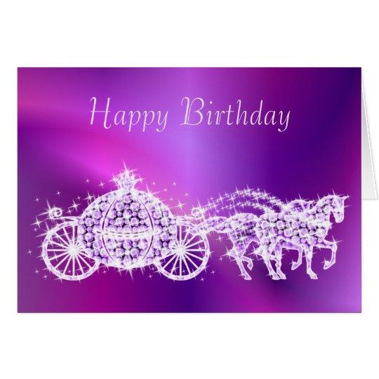 Glitzy Princess Purple Coach & Horses Birthday Card