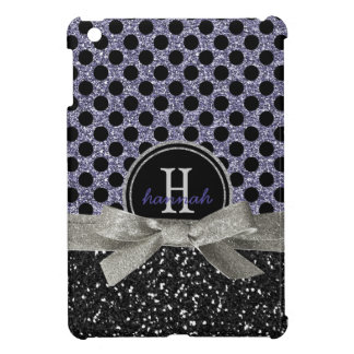 Glitzy Purple Glitter Polka Dot Pattern Monogram iPad Mini Cases