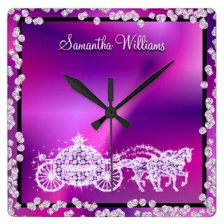 Glitzy Purple Princess Coach & Horses Square Wall Clock