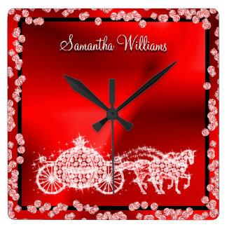 Glitzy Red Princess Coach & Horses Square Wall Clock