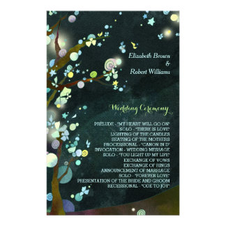 Glitzy, Rustic Dark Green Tree Wedding Programs 14 Cm X 21.5 Cm Flyer