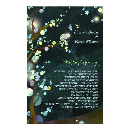 Glitzy, Rustic Dark Green Tree Wedding Programs Personalized Flyer