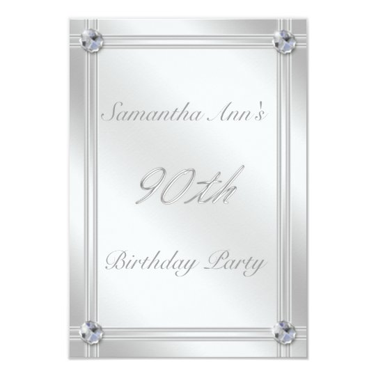 Glitzy Silver and Diamonds Look 90th Birthday Card