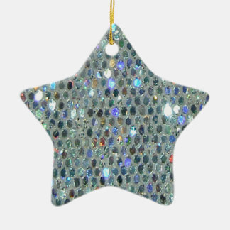 Glitzy Sparkly Silver Glitter Bling Ceramic Star Decoration