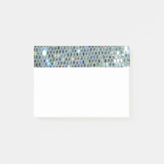 Glitzy Sparkly Silver Glitter Bling Post-it Notes