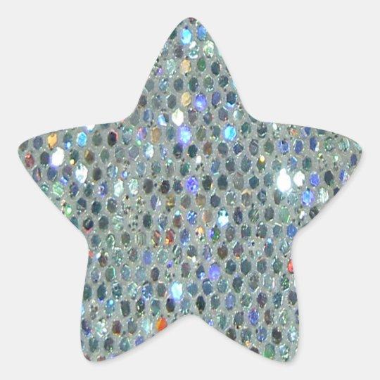 Glitzy Sparkly Silver Glitter Bling Star Sticker