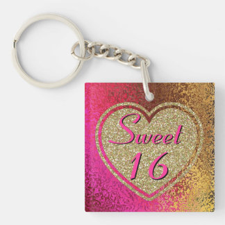 Glitzy Sweet 16 Pink & Gold Custom Double-Sided Square Acrylic Key Ring