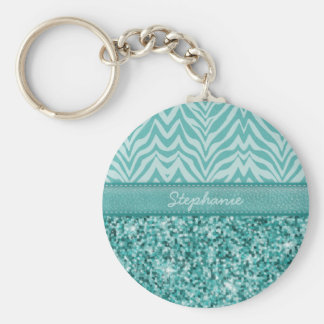 Glitzy Teal Zebra Basic Round Button Key Ring