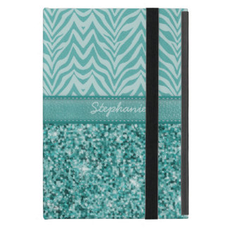 Glitzy Teal Zebra Cover For iPad Mini