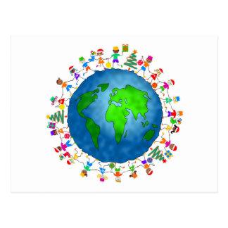 Global Christmas Kids Postcard