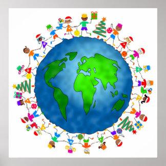 Global Christmas Kids Posters
