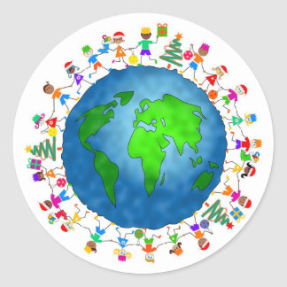 Global Christmas Kids Round Sticker