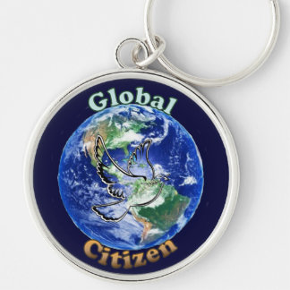 Global Citizen Peace Dove Key Ring Silver-Colored Round Key Ring