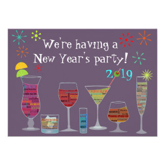 Global Cocktails New Year s Eve Party Invitation