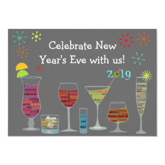 "Global Cocktails New Year's Eve Invitation 4.5"" X 6.25"" Invitation Card"