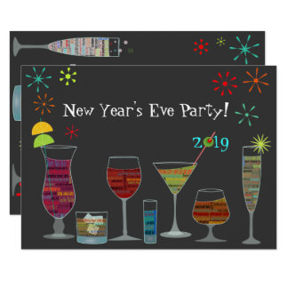 Global Cocktails New Year's Eve Invitation