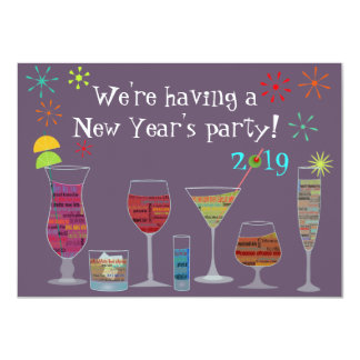 "Global Cocktails New Year's Eve Party Invitation 4.5"" X 6.25"" Invitation Card"