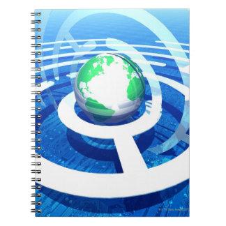 Global communication, conceptual computer 2 spiral notebook