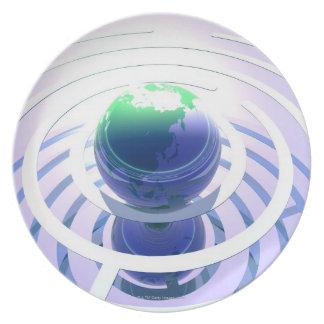 Global communication, conceptual computer plate