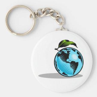 Global Environment Basic Round Button Key Ring