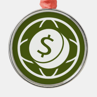 Global Financial Business Icon Round Metal Christmas Ornament