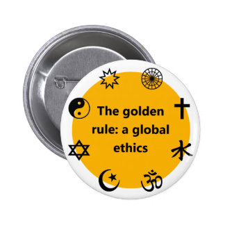 Global golden rule 6 cm round badge
