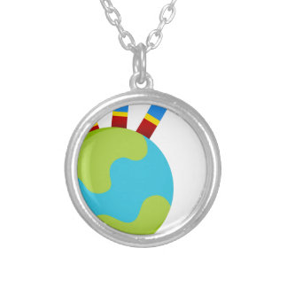 Global Growth Icon Round Pendant Necklace