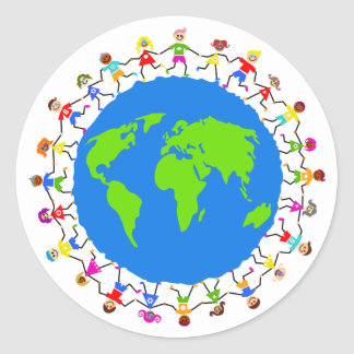 Global Kids Round Sticker