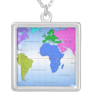 Global Map 2 Silver Plated Necklace