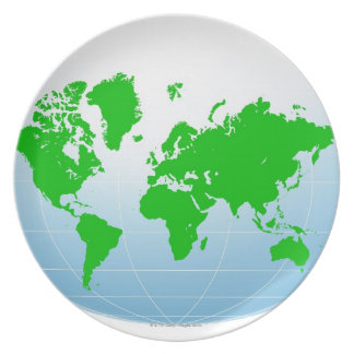 Global Map Dinner Plates