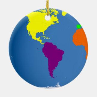 Global Map Round Ceramic Decoration