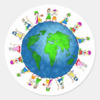 Global Nativity Kids Classic Round Sticker