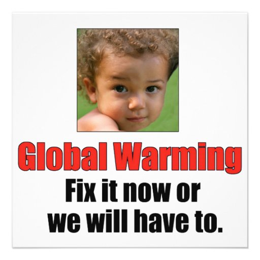 """Global Warming 5.25"""" x 5.25"""" Basic White Personalized Announcements"""