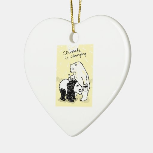 Global warming climate is changing bears christmas ornament