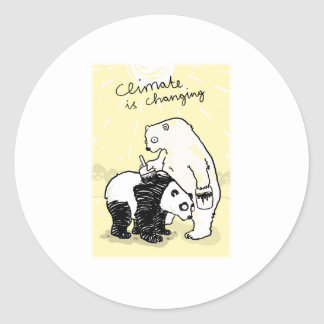 Global warming climate is changing bears round sticker