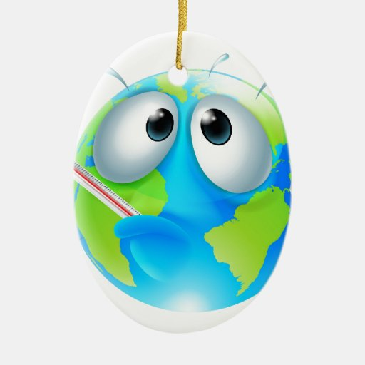 Global warming concept christmas tree ornament