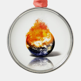 Global Warming Round Metal Christmas Ornament