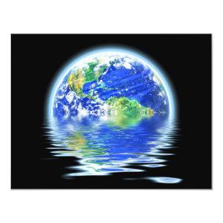 Global Warming Flooded Earth Illustration 11 Cm X 14 Cm Invitation Card